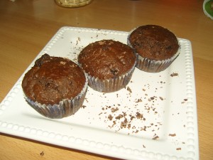 Csokis diós muffin lekvárral töltve